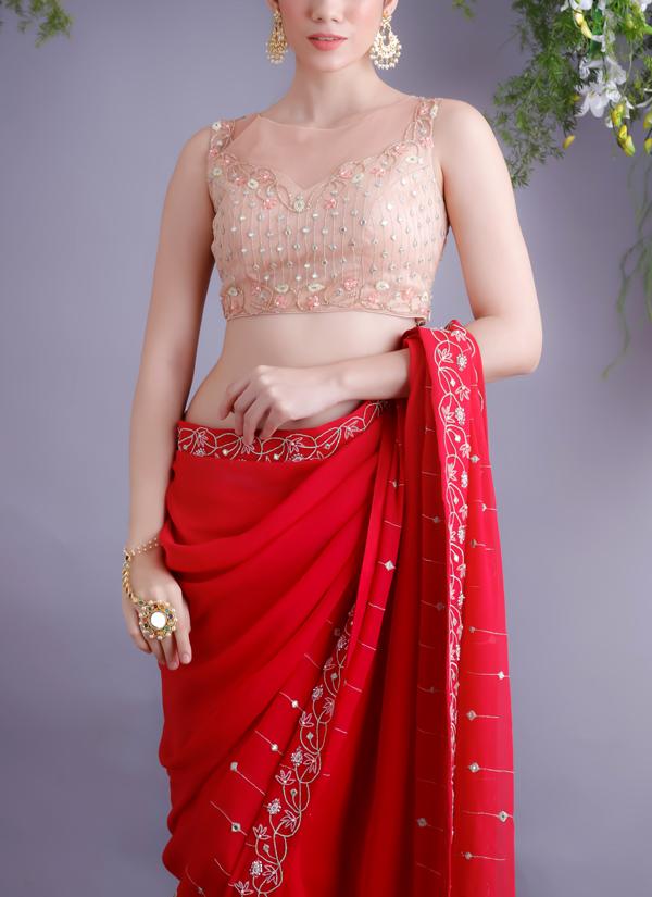 Renee Label  Rose Red Sari With Nude Blouse  Shop Sarees -1874