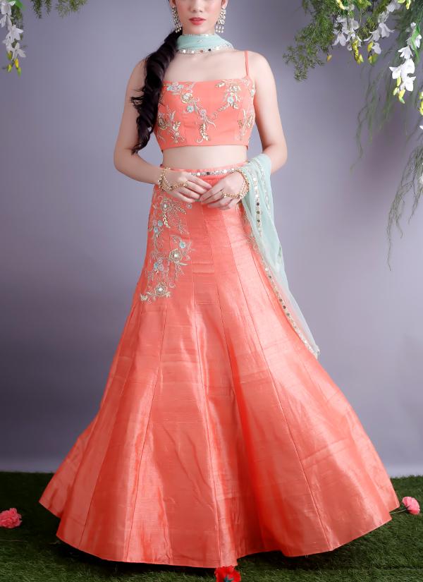 62b599fd5e0 Indian Fashion Designers - Renee Label - Contemporary Indian Designer -  Tangerine Rose Vines Embroireded Crop