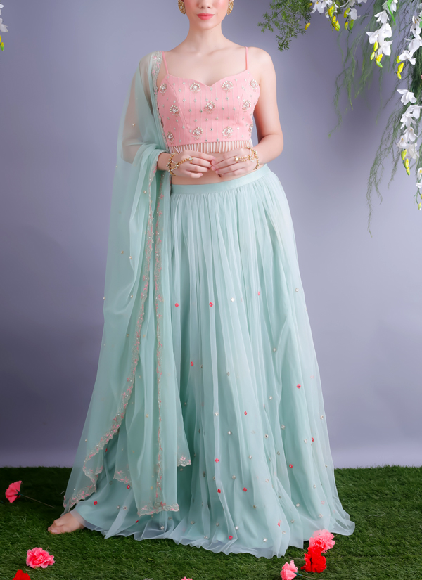 Renee Label | Mint Blue Lehenga With Blush Pink Crop Top | Shop Lehengas at strandofsilk.com