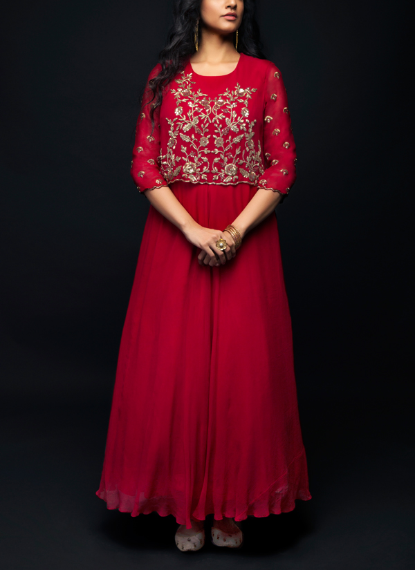 ba2edab82a Indian Fashion Designers - SHIVAZZ by Angad Siddhu - Contemporary Indian  Designer - Maroon Zardosi Embroidered