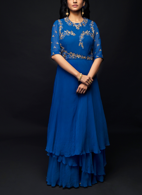 Shivazz By Angad Siddhu Royal Blue Embroidered Layered Gown Shop