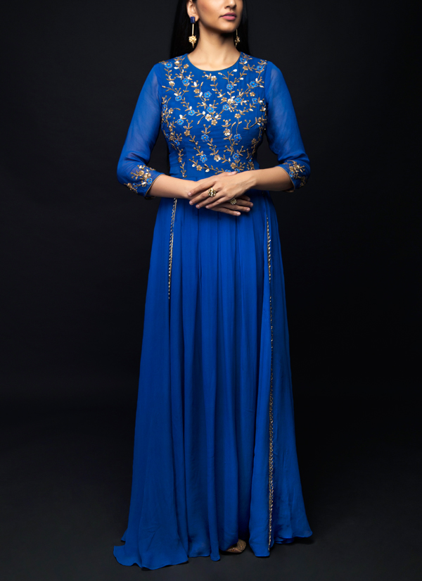 Shivazz By Angad Siddhu Royal Blue Georgette Pleated Gown Shop