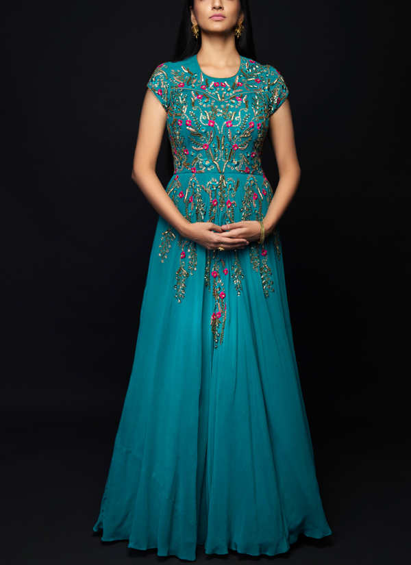 80b1e5d4ecf57 Womenswear /Gowns · Indian Fashion Designers - SHIVAZZ by Angad Siddhu -  Contemporary Indian Designer - Teal Zardosi Embroidered