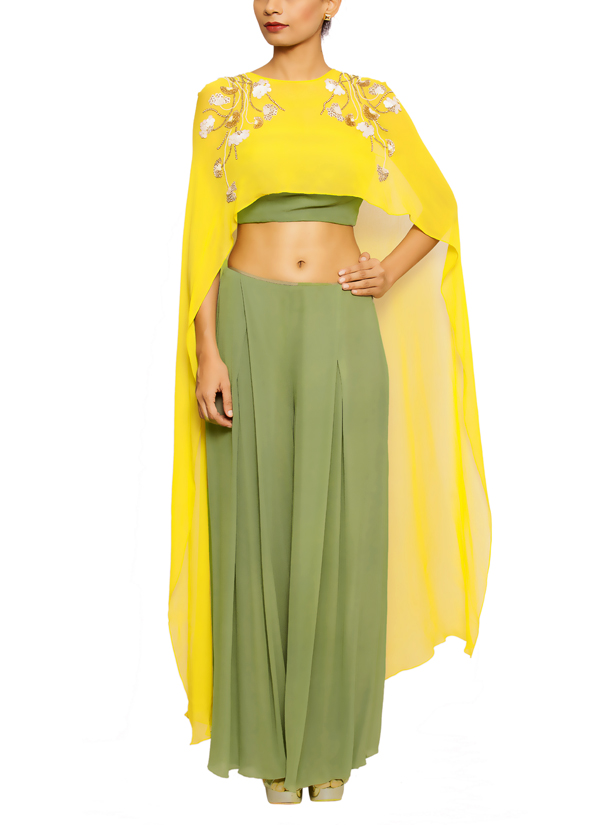 salt and spring by sonam jain olive green crop top suit shop