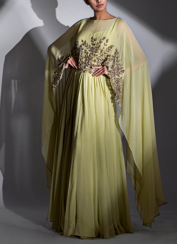 Shruti Singla | Moss Green Cape Gown | Shop Gowns at strandofsilk.com
