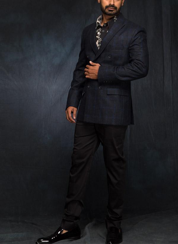 7f67bb4e107 Indian Fashion Designers - Siddartha Tytler - Contemporary Indian Designer  - Black Floral Digital Printed Shirt