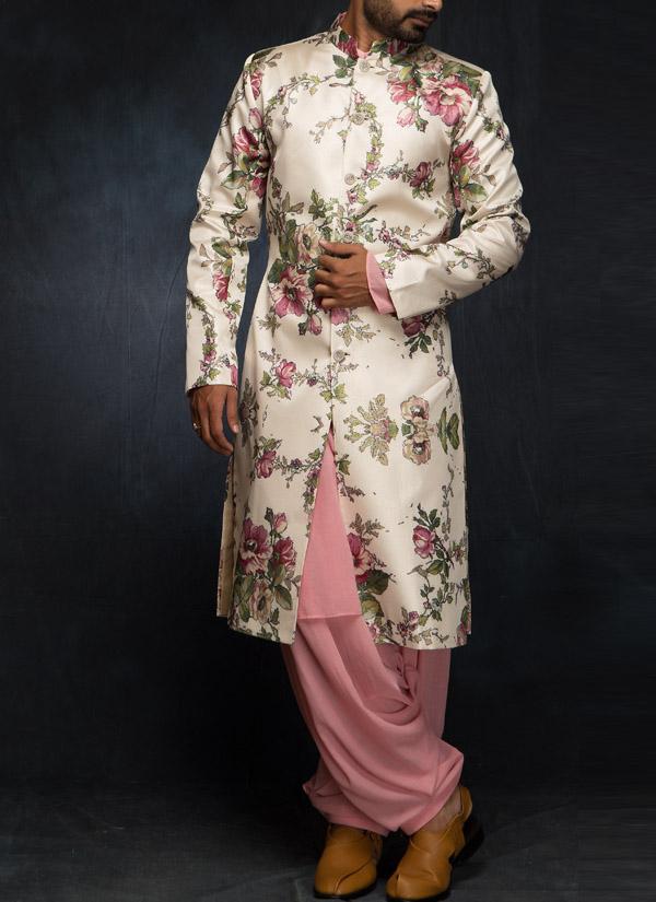 Siddartha Tytler Ivory Floral Digital Printed Sherwani