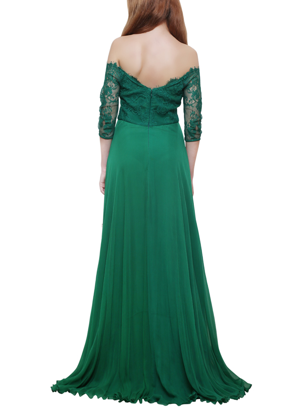 Swatee Singh | Green Off Shoulder Lace Gown | Shop Gowns at ...
