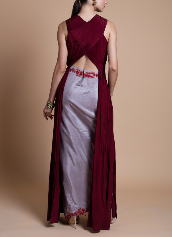 Tara Thakur Cherry Red Draped Top Set Shop Top