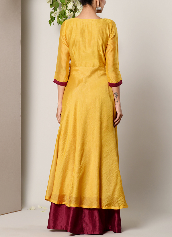 797292e4658b ... Indian Fashion Designers - True Browns - Contemporary Indian Designer -  Mustard Yellow Maroon Border Suit ...