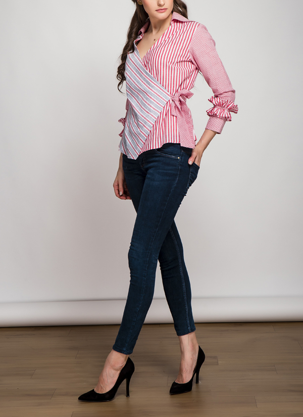 Tuned In Living Origami Red Striped Wrap Top Shop Tops At Strandofsilk Com