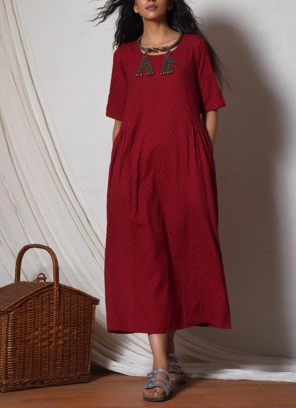 Truebrowns Red Patterned Kurta Dress Shop Dresses At