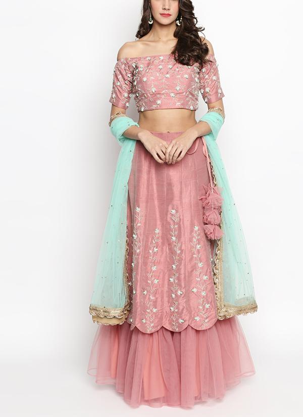 3cf0c421db Indian Fashion Designers - Priti Sahni - Contemporary Indian Designer - Nude  Pink Pure Raw Silk