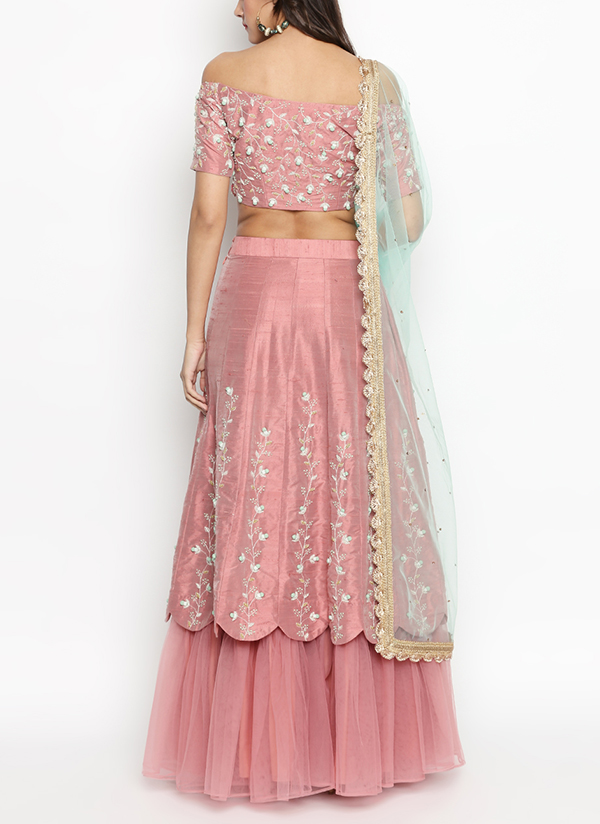 670f6c505c ... Indian Fashion Designers - Priti Sahni - Contemporary Indian Designer - Nude  Pink Pure Raw Silk ...