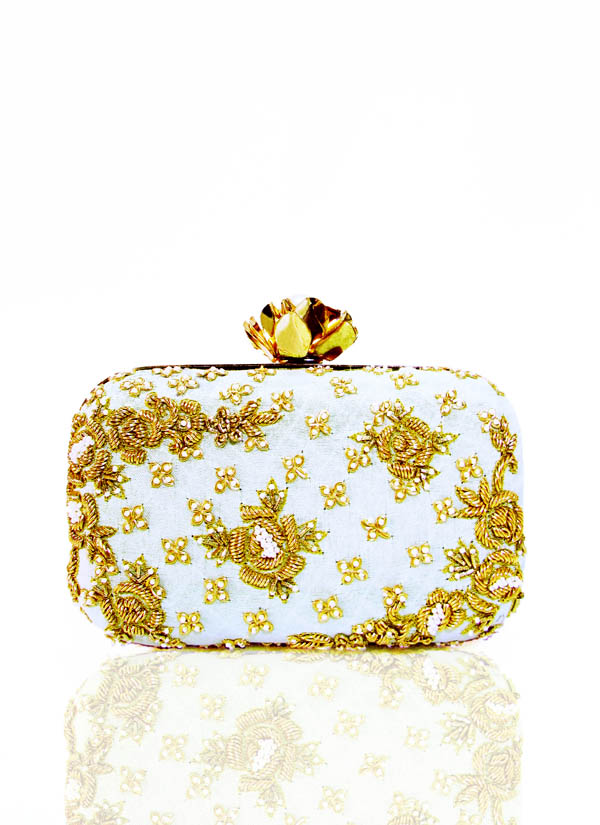 Indian Fashion Designers - Tresclassy - Contemporary Indian Designer -  Pastel Green Floral Jaal Work Clutch