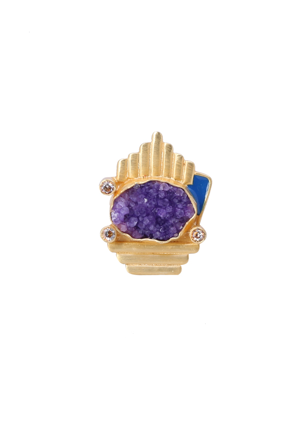 Roopa Vohra | Asymmetric Violet and Gold Ring | Shop Rings at ...