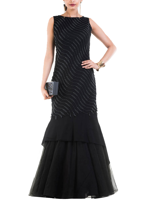 9dea94d6de4 Indian Fashion Designers - Anju Agarwal - Contemporary Indian Designer -  Jet Black Fishtail Off Shoulder