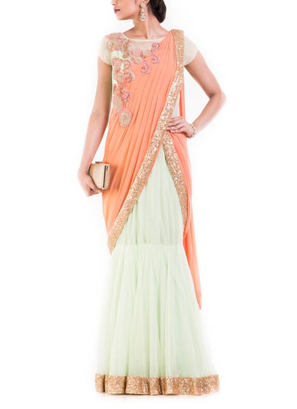 Anju Agarwal | Pastel Green and Orange Drape Gown Saree | Shop ...