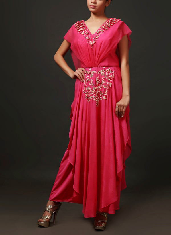 e1d1ccf8cac Indian Fashion Designers - Nidhi Singh - Contemporary Indian Designer -  Fuchsia Pink Waterfall Skirt Pant