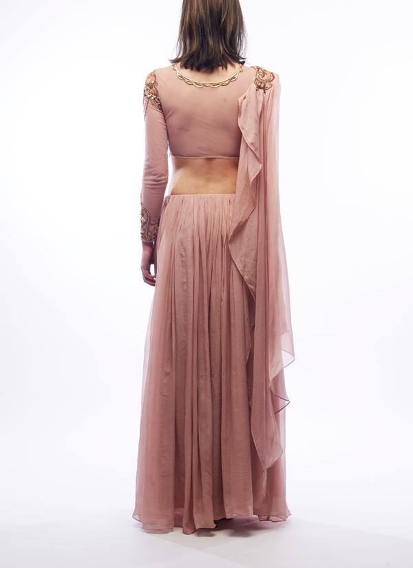 Renee Label  Nude Embroidered Lehenga  Shop Lehengas At -5280