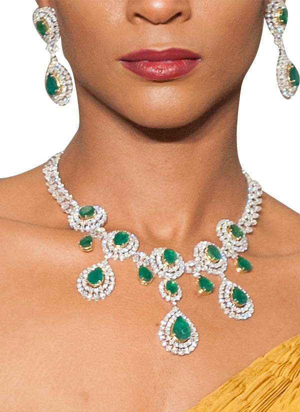 Diagold Dazzling Diamond And Emerald Necklace Set Shop At
