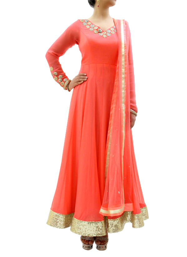Silvereene | Peach Mirror Work Anarkali | Shop Anarkalis At Strandofsilk.com