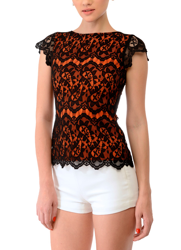 Swatee Singh Orange and Black Lace Top Shop Tops at