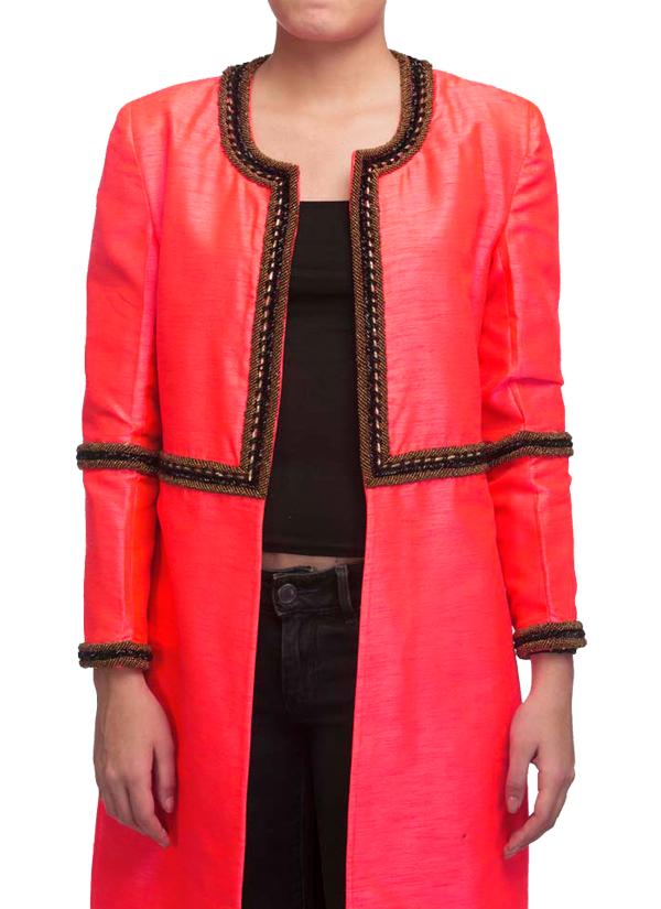 Vijay Balhara | Fluorescent Pink Long Jacket at strandofsilk.com