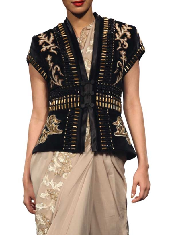 Narendra Kumar Black Metal Embroidered Jacket Shop
