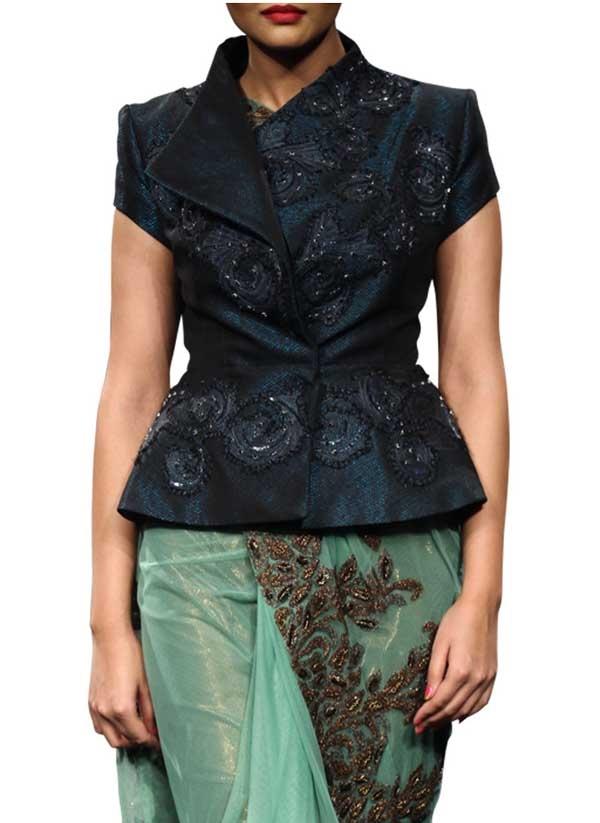 ... Dark Navy Blue Jacket by Indian Fashion Designers