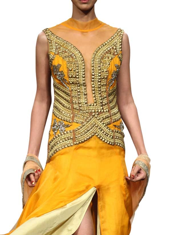 Narendra Kumar | Gold Yellow Dress | Shop Dresses at strandofsilk.com