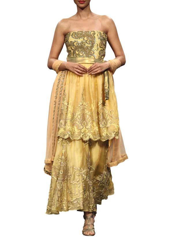Layered Golden Dress By Indian Designer Narendra Ar