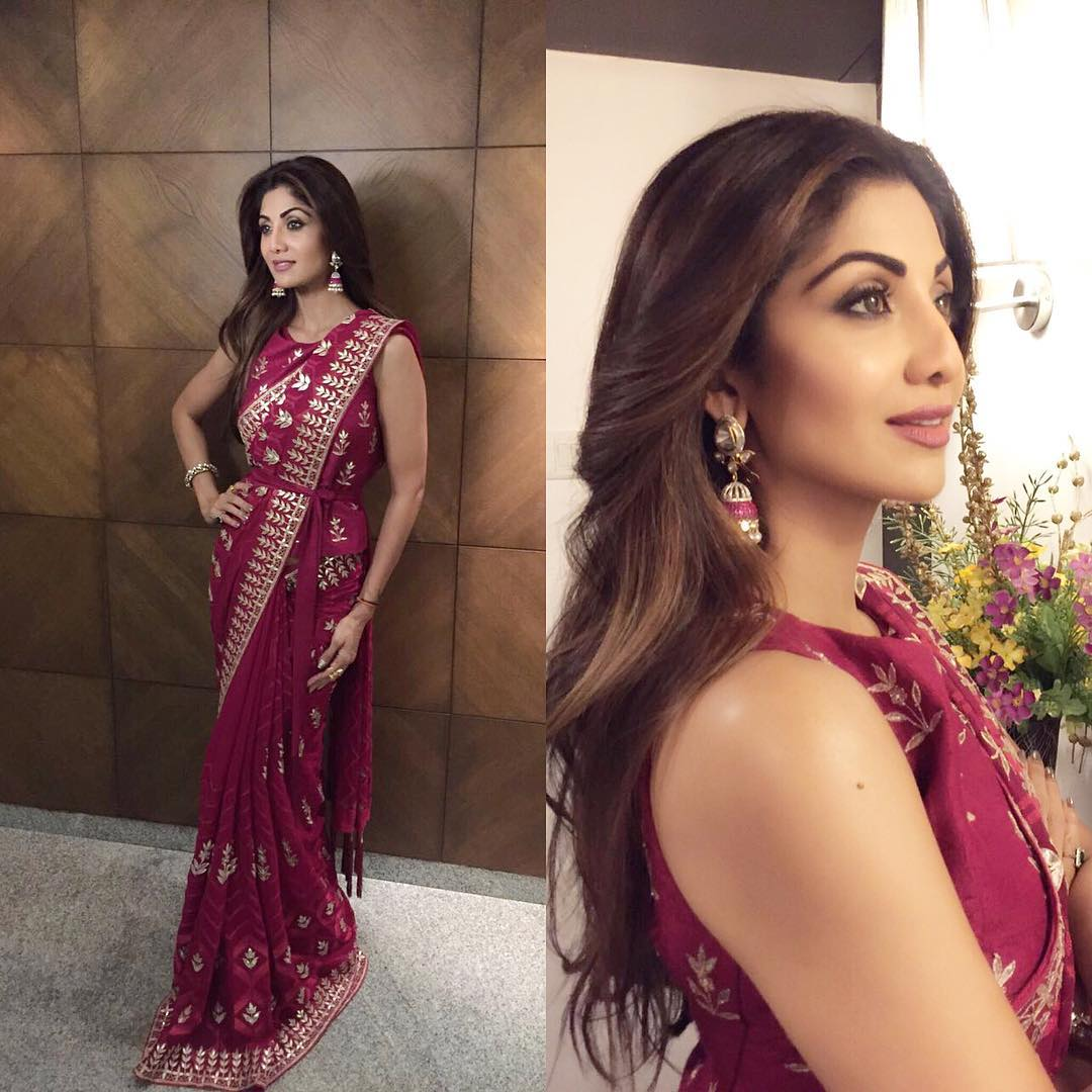 Shilpa Shetty In A Red Anita Dongre Saree  Anita Dongre -3027