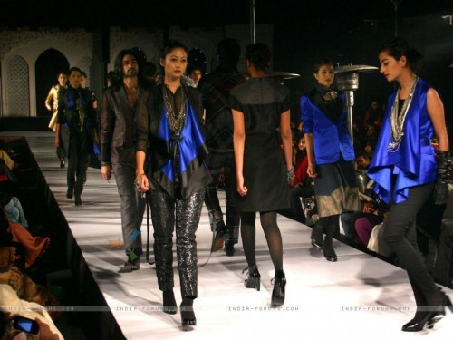 Models showcasing contemporary dresses and tops by Rajesh Pratap Singh
