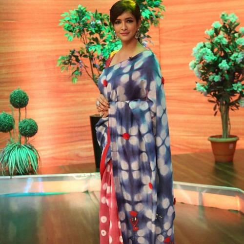 Lakshmi Manchu in a Saree by KaSHA and earrings by Sangeeta Boochra for Memu Saitham