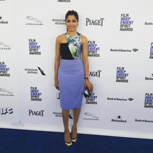 Freida Pinto in a Blue Bibhu Mohapatra Dress | Bibhu ... Freida Pinto Instagram