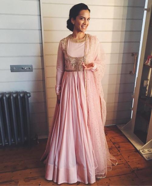 Anoushka Shankar in a Pink Sabyasachi Ensemble at Buckingham Palace