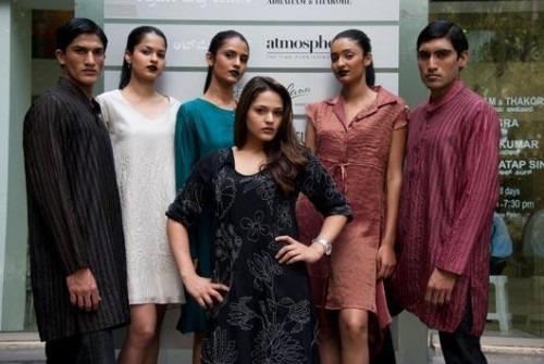 Aviva Bidapa and models in creations by Contemporary Designers Abraham & Thakore