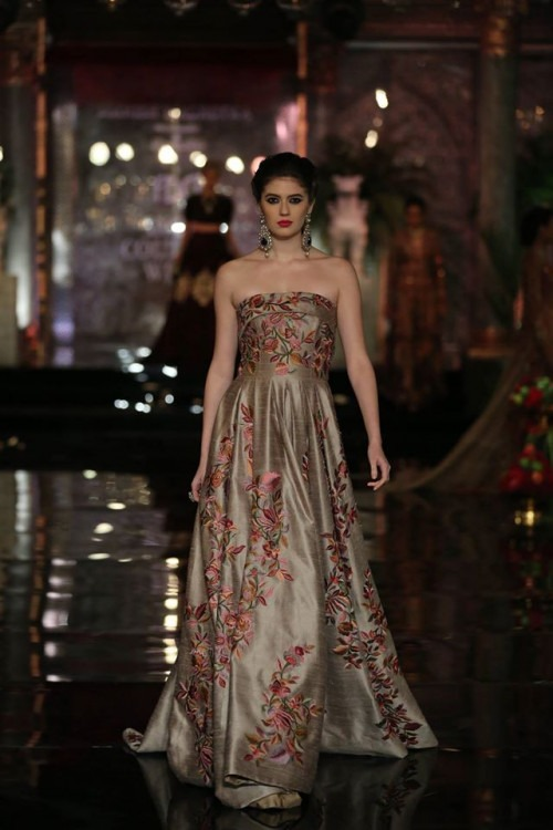 Metallic Off Shoulder Floral Gown by Manish Malhotra at India Couture Week 2016
