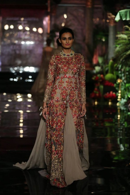 Beige and Red Embroidered Gown by Manish Malhotra at India Couture Week 2016