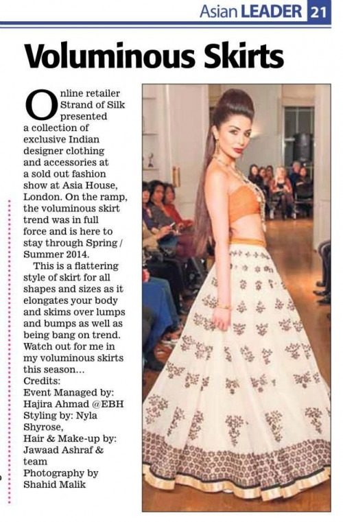 Indian Designer Skirt by Sougat Paul shown at the Enchanted by Details show by Strand of Silk at Asia House in London
