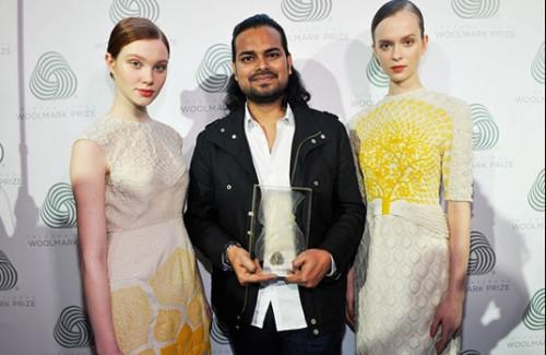 Indian Designer Rahul Mishra receives the Woolmark prize