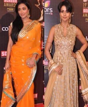 Jiah Khan and Gul Panag in Indian Designer Anita Dongre's Saree - Anarkali Suit