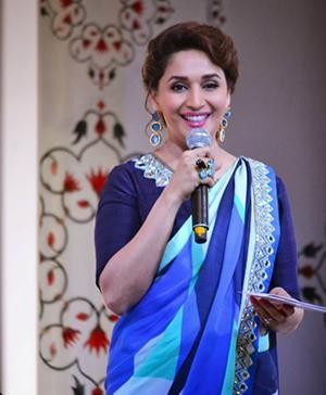 Madhuri Dixit's designer saree at the launch of 'Taj Flavor of Darjeeling'