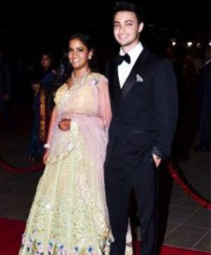 Arpita Khan in a Falguni & Shane Peacock Dress at her Reception
