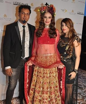 Indian Fashion Designers - Duo Falguni and Shane Peacock with Evelyn Sharma