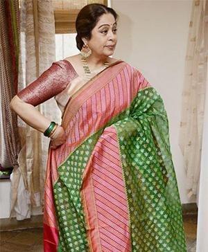 Bollywood Actress Kiron Kher in a Saree by Gaurang Shah