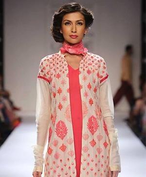 Indian Fashion Designer Krishna Mehta's collection on the ramp at Lakme Fashion Week Winter Festive 2014