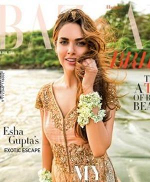 Esha Gupta on cover of Harper's Bazaar in Indian bridal wear