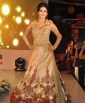 Rohit Verma | Indian Designer Clothes | Sunny Leone in a Rohit Verma's beautiful bridal gown
